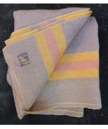 """AYERS WOOL BLANKET Throw MAUVE PURPLE LILAC GOLD Reversible 66""""x80"""" VTG - $129.95"""