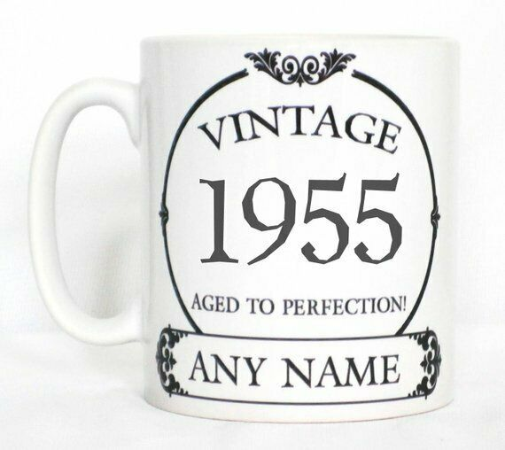 Vintage 1955 Aged To Perfection Mug PERSONALISED Wine Label Birthday Year Gift
