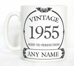 Vintage 1955 Aged To Perfection Mug PERSONALISED Wine Label Birthday Yea... - $9.66
