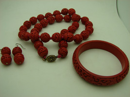 VINTAGE Chinese Red Cinnabar Floral Bead Necklace Bangle Earrings Set St... - $449.99