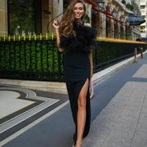 Women Sexy Party Dress Black Feather Spaghetti Strap Birthday Slash Neck Fashion - $123.99