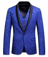 MOGU Mens Floral Jacquard Suits Royal Blue Luxury 3 Piece Blazer Jacket ... - $187.78+