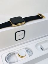24K Gold Plated 44MM Apple Watch SERIES 4 With Black Leather Band Classi... - $1,499.00