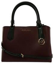 Michael Kors Satchel Top Handle Merlot Red Black Leather Kimberly Bag RR... - $327.05