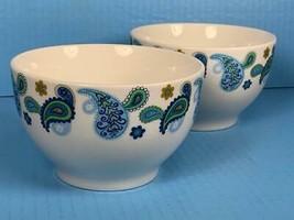 "Lot of TWO Royal Norfolk Paisley Print Stoneware Cereal Soup Bowls 5.5"" - $19.79"