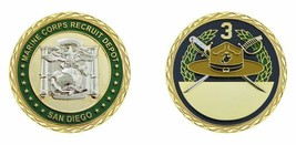 "MARINE CORPS 3RD RECRUIT DEPOT SAN DIEGO MCRD 1.75"" CHALLENGE COIN - $17.14"
