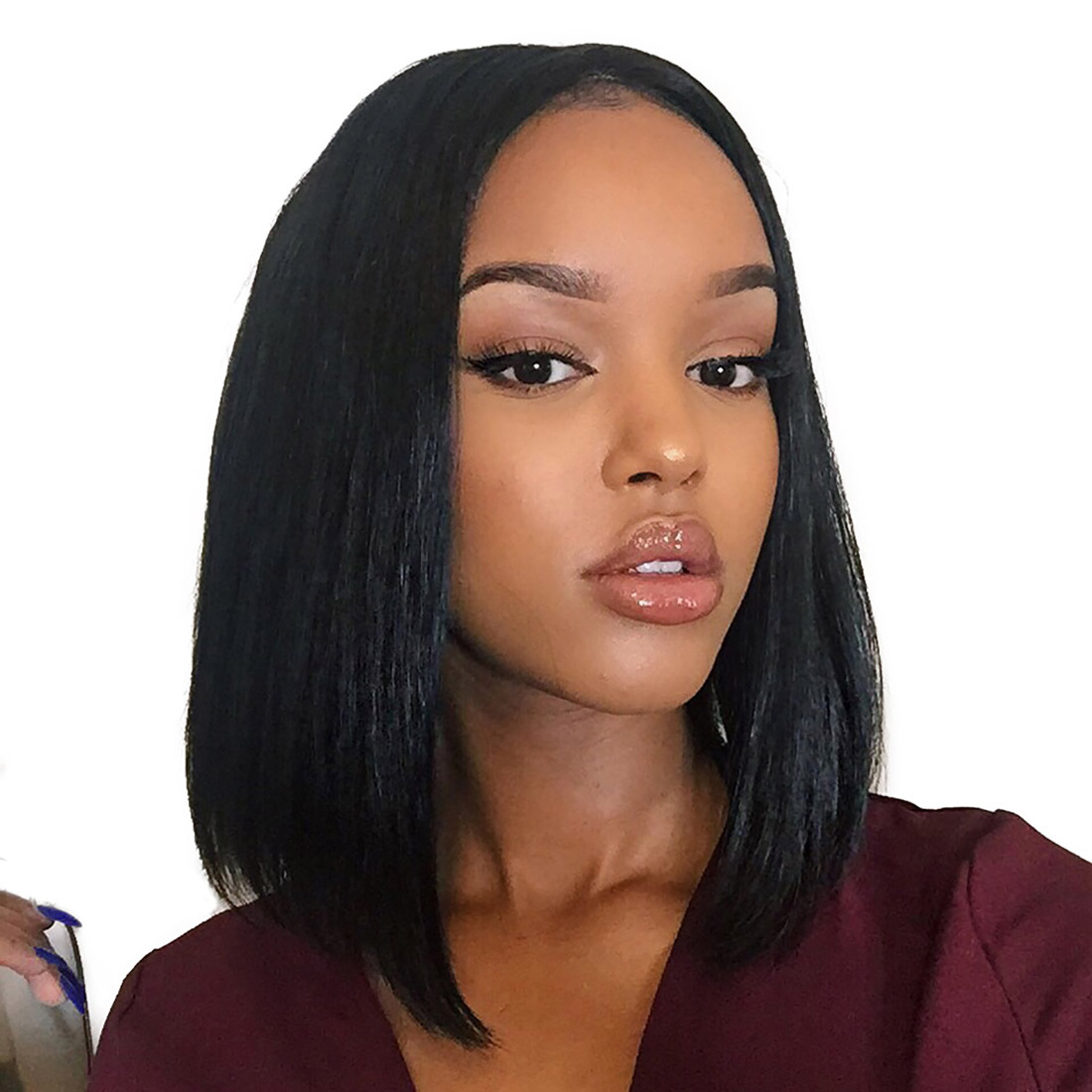 Human Hair Lace Front Wigs For Women Middle Part Short Bob