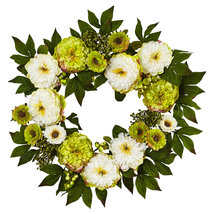 "24"" Peony Mum Wreath, Nearly Natural - €60,60 EUR"