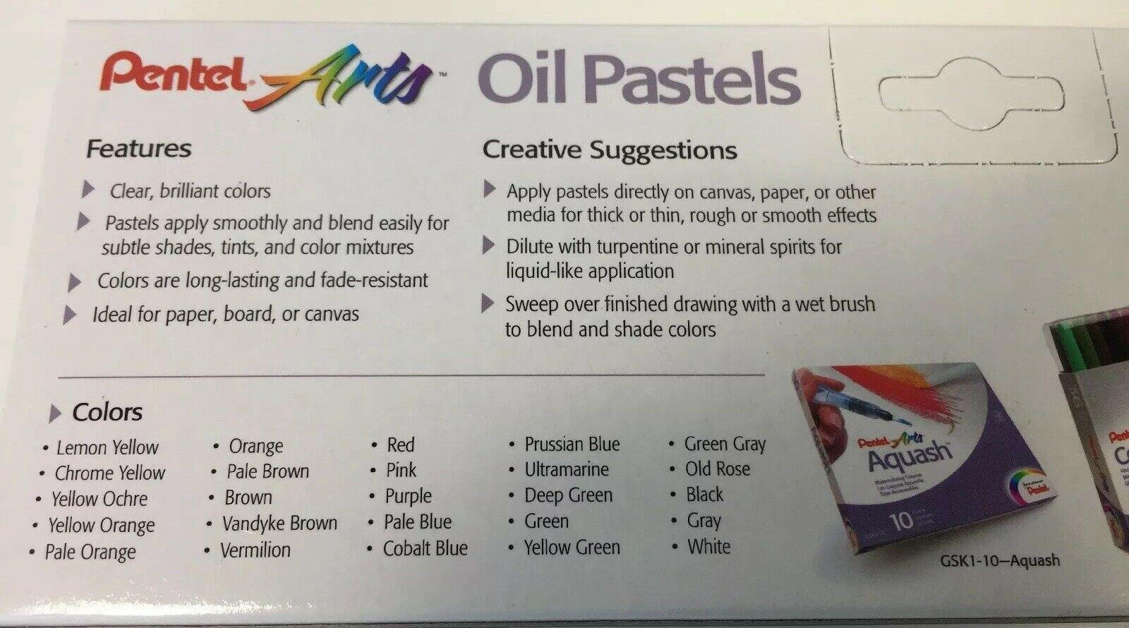 Pentel Arts Oil Pastels Artist Drawing 2 Box Sets Kits 25 ct 12 ct PHN-25 PHN-12