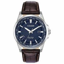 Citizen Men's Eco-Drive World Timer leather Stainless Steel Watch AW1598-70X image 1