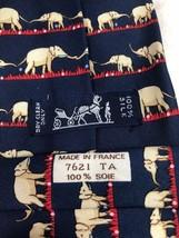 "Hermes Silk Necktie Tie 7621 TA Elephants Blue 60"" (152cm) Classic - $134.63"