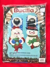 Bucilla Felt Sequins Kit Santa & Snowman Doorknob Covers Set Christmas 82756 - $27.72