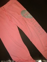 Victoria's Secret XS sweatpants Peach pink silver heart ANGEL studded glittered - $59.39