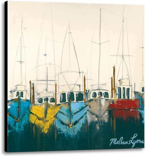 Primary image for At The Dock by Melissa Lyons Seascape Fishing Boats Ready To Hang Canvas 24x24