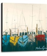 At The Dock by Melissa Lyons Seascape Fishing Boats Ready To Hang Canvas... - $177.21