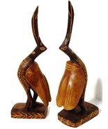 Pelicans Two Wooden Bird Figurines Hand Carved Sculptures 7.5 inches Tall  - $22.77