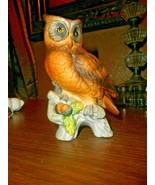 Vintage Handpainted Porcelain OWL Figurine on Oak Tree Branch Brown Acor... - $22.65