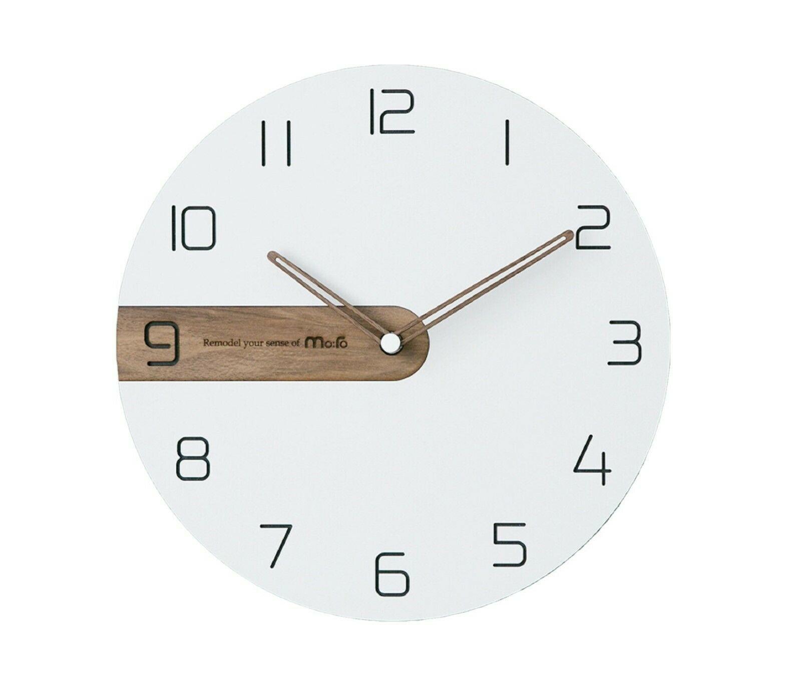 Moro Design Real Wood Nine Wall Clock non Ticking Silent Modern Clock (Classic)