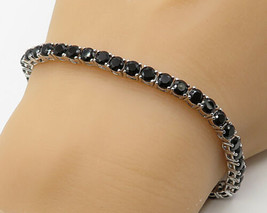 925 Silver - Vintage Black Cubic Zirconia Eternity Tennis Bracelet - B3131 - $68.94