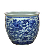 Chinese Vintage Finish Blue White Porcelain Dragons Round Pot Planter cs... - $1,680.00