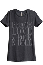 Thread Tank Peace Love And Rock n Roll Women's Relaxed T-Shirt Tee Charc... - $24.99+