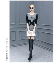 Woolen Dress with Knitted Long Sleeve Round Neck - Grey - €28,23 EUR