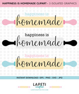 Happiness is homemade svg, eps, jpg, png, kitchen wall quote, home decor... - $4.00