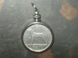 Vintage 1928 Ireland Irish Wolfhound Six Pence Bezel Coin Pendant Necklace - $15.83
