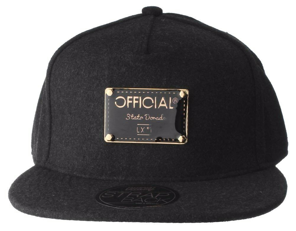 Official Crown Black Luxury Brushed Wool Stato Dorada Strapback Baseball Hat NWT