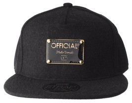 Official Crown Black Luxury Brushed Wool Stato Dorada Strapback Baseball Hat NWT image 1