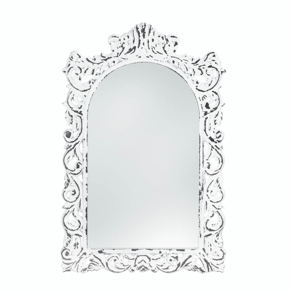 Vintage Style Distressed White Carved Ornate Flourishes Arched Frame Wall Mirror - $50.95