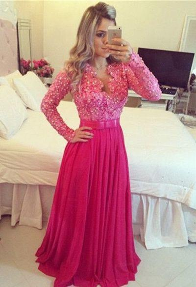 hot pink Prom Dresses,long sleeves prom dress,floor-length prom Dresses
