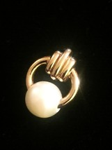 Vintage 60s Gold Hoop and Faux Pearl Tie Tack with Chain image 2
