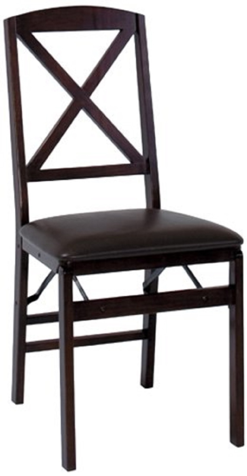 Cosco Espresso Wood Folding Chair With Vinyl Seat Amp X Back