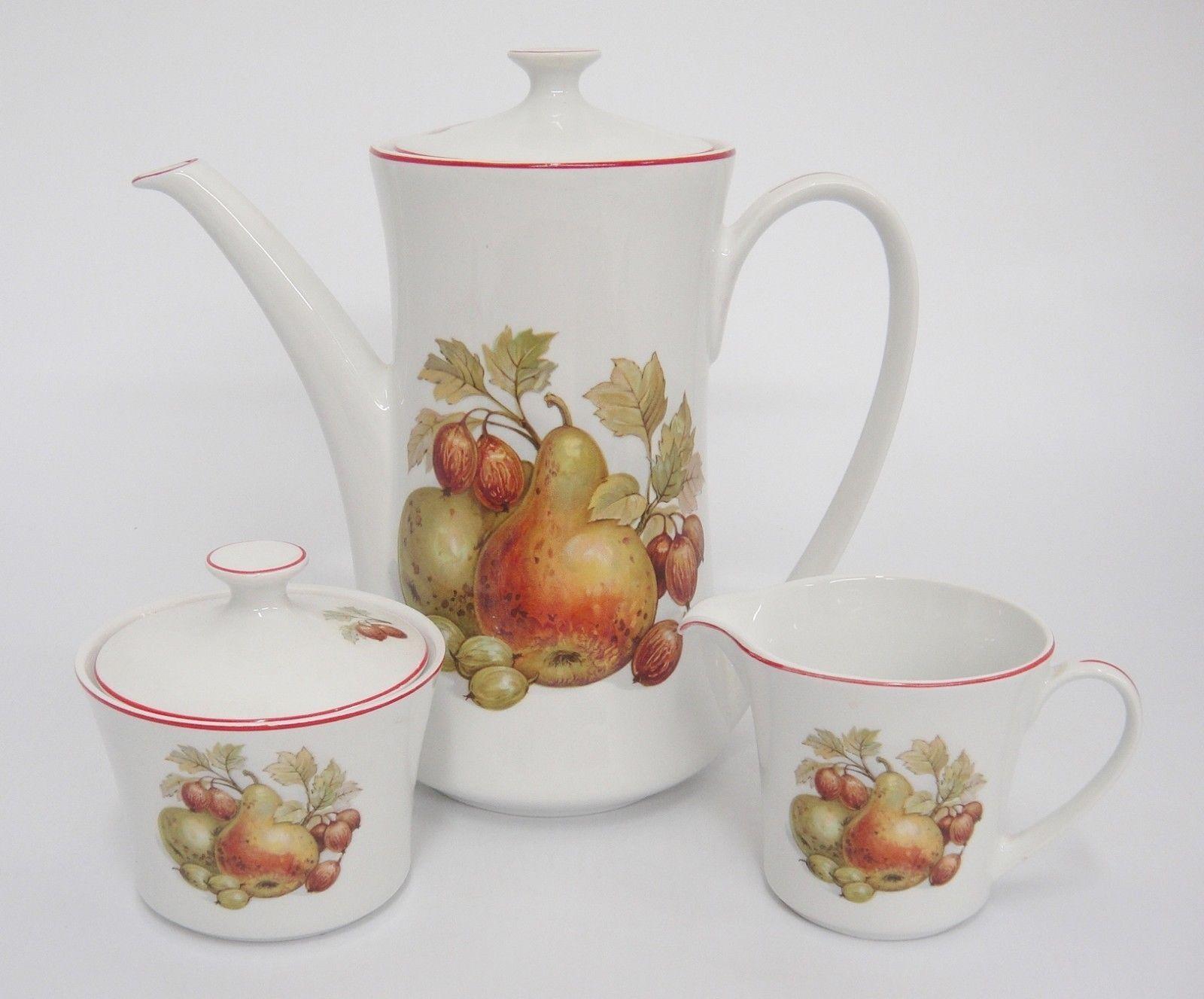 Pontesa Spain Four Cup Coffee Set Pot Sugar and Creamer Fruit Design Red Trim