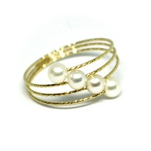 18K YELLOW GOLD MAGICWIRE BAND RING, ELASTIC WORKED MULTI WIRES, DIAGONAL PEARLS image 1