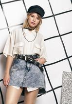 Denim skirt w raw hem - 80s vintage reworked skirt - $34.23