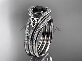 Black Diamond celtic trinity knot wedding Set, platinum diamond CT7317S - $4,450.00