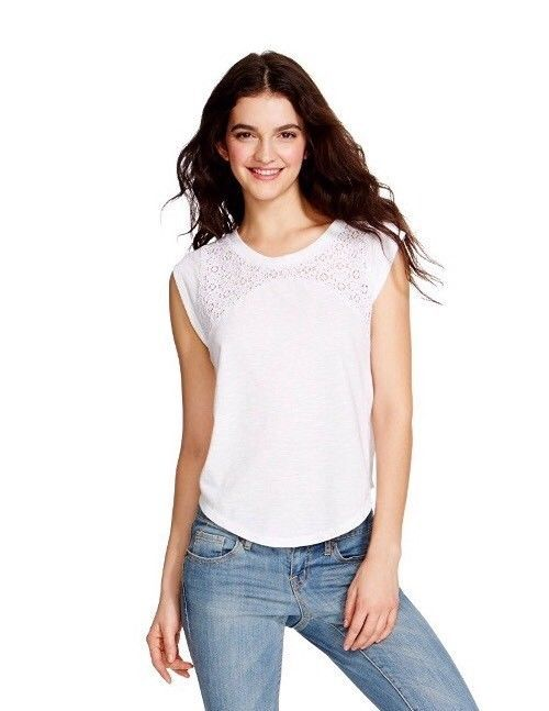 2cbd083cb0e4e Mossimo Supply Co. Lace Yoke T- Shirt - White - Size  XS (Extra Small) -   7.00