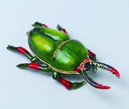 Green and Red Bug Jewels Studded Jewelry/Trinket Box Figurine - $15.84