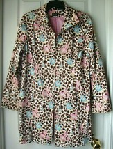 Pre-Owned Nicole Miller Animal Print Floral Cotton Trench Coat Pink/Blue... - $18.80
