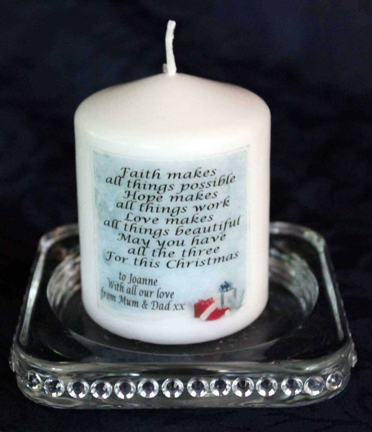 "Primary image for Daughter Christmas candle personalised gift  3"" inch #1"