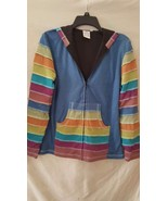 NEW Parsley & Sage Blue Color Block Hoodie Jack... - $16.99