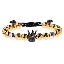 Amader Luxury CZ Gold Crown 8mm Gold Beads Bracelet Charm Men Hematite Braided B - $10.02