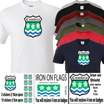 Cumbria t shirt iron on badge or stickers - $8.79+