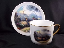 Thomas Kinkade Moonlight Cottage cup & saucer Teleflora 2003 10 oz - $9.28