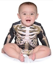 Faux Real Bambini Scheletro Tutina Body Sublimated Costume Halloween F12... - $20.90