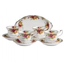 ROYAL ALBERT OLD COUNTRY ROSES COMPLETER SET 4 CUPS/SAUCERS/REGAL TRAY - $138.59