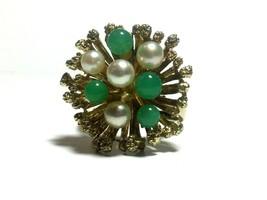 585 14k Yellow Gold Pearl & Jade Gemstone Estate Jewelry Large Ring - $395.00