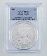 2010 Silver American Eagle Graded by PCGS as MS-69! Gorgeous Eagle - $49.37